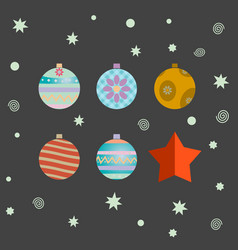 Set of retro decorative christmas balls vector