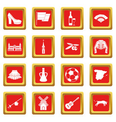 Spain travel icons set red vector