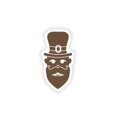 Stylish paper sticker on white background man hat vector