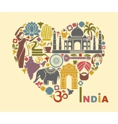 Symbols of India in the form of heart vector image vector image