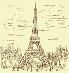 vintage eifel tower vector image