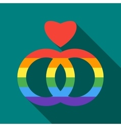 Two rainbow rings and heart icon flat style vector