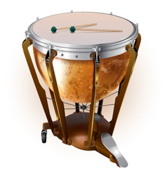 Classical timpani drum isolated on white vector
