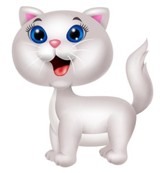 Cute white cat cartoon vector