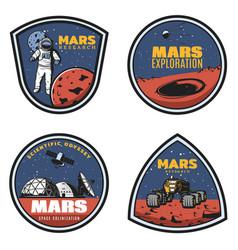 Colored vintage mars research emblems set vector