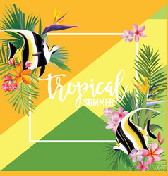 Tropical flowers and fish summer banner vector