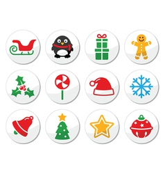 Christmas round icons set vector