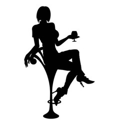 Silhouette girl sitting on a bar chair vector