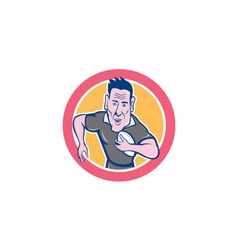 Rugby Player Running Charging Circle Cartoon vector image