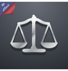 Scales of justice icon symbol 3d style trendy vector