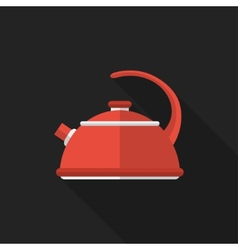 Flat kettle with long shadow icon vector