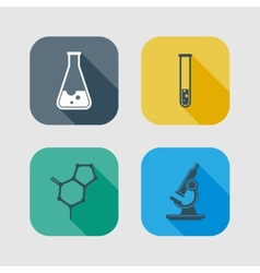Icon set of science signs flat design with long vector