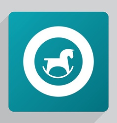 Flat horse toy icon vector