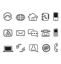 Contact outline icons set vector