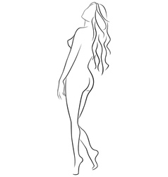 Beautiful abstract female half turn back outline vector