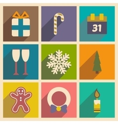 Set flat icons with long shadow christmas and new vector