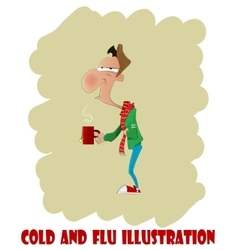 Fun cartoon man with cold or flu vector