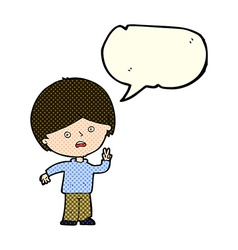 Cartoon unhappy boy giving peace sign with speech vector