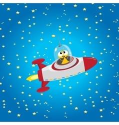 Alien spaceship  orange alien in space vector