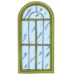 Green arched window vector