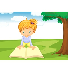 a girl reading book vector image vector image