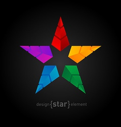 Abstract colorful Star made of pyramids vector image
