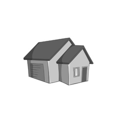 Big house with garage icon black monochrome style vector image vector image