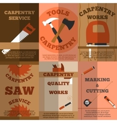 Carpentry 6 flat banners poster vector