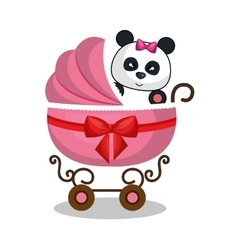 cart baby with cute stuffed animal vector image vector image