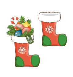 christmas decoration sock icon for your design vector image vector image