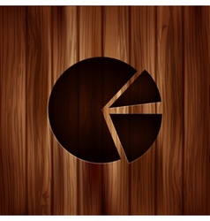 Circular diagram web icon wooden texture vector