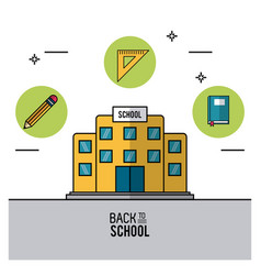 Color poster of back to school with school bulding vector