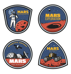 Colored vintage mars research emblems set vector