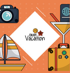 colorful poster of enjoy vacation with photo vector image