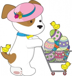Cute dog easter eggs vector