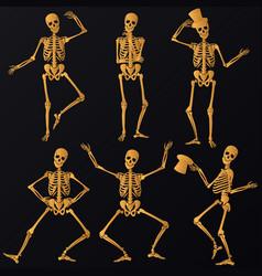 dancing golden skeletons vector image vector image