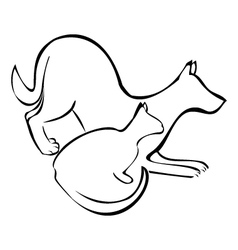 Dog and cat silhouette logo vector image vector image