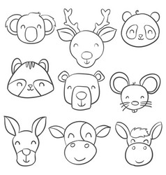 doodle of animal head hand draw vector image vector image