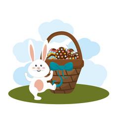Eggs easter inside the hamper and rabbit dancing vector