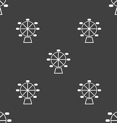 Ferris wheel icon sign Seamless pattern on a gray vector image
