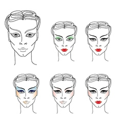 Flower girl makeup vector