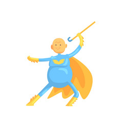 Funny character of grandfather in fighting pose vector