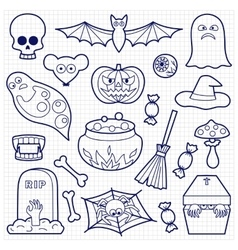 Halloween Patches Set on Squared Paper vector image