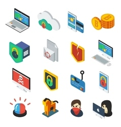 Internet security isometric icons set vector