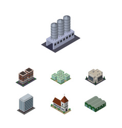 Isometric construction set of chapel warehouse vector