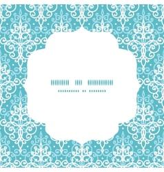 Light blue swirls damask circle frame vector