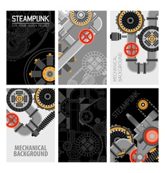 Machinery parts brochures design vector
