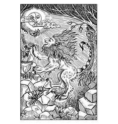 manticore engraved fantasy vector image vector image