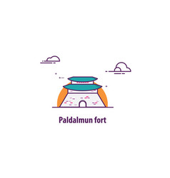 paldalmun fort in south korea with line art desig vector image