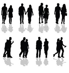 People walking in pairs silhouette vector